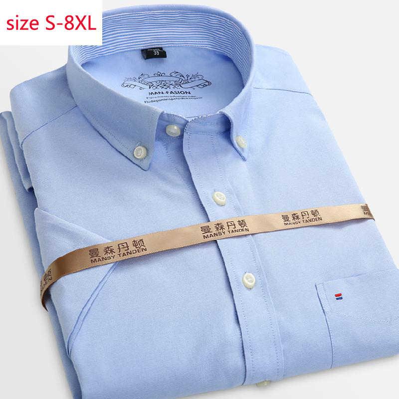 2020 nova chegada moda manga curta grande verão oxford fino camisas casuais único breasted men plus size S-3XL4XL5XL6XL7XL8XL