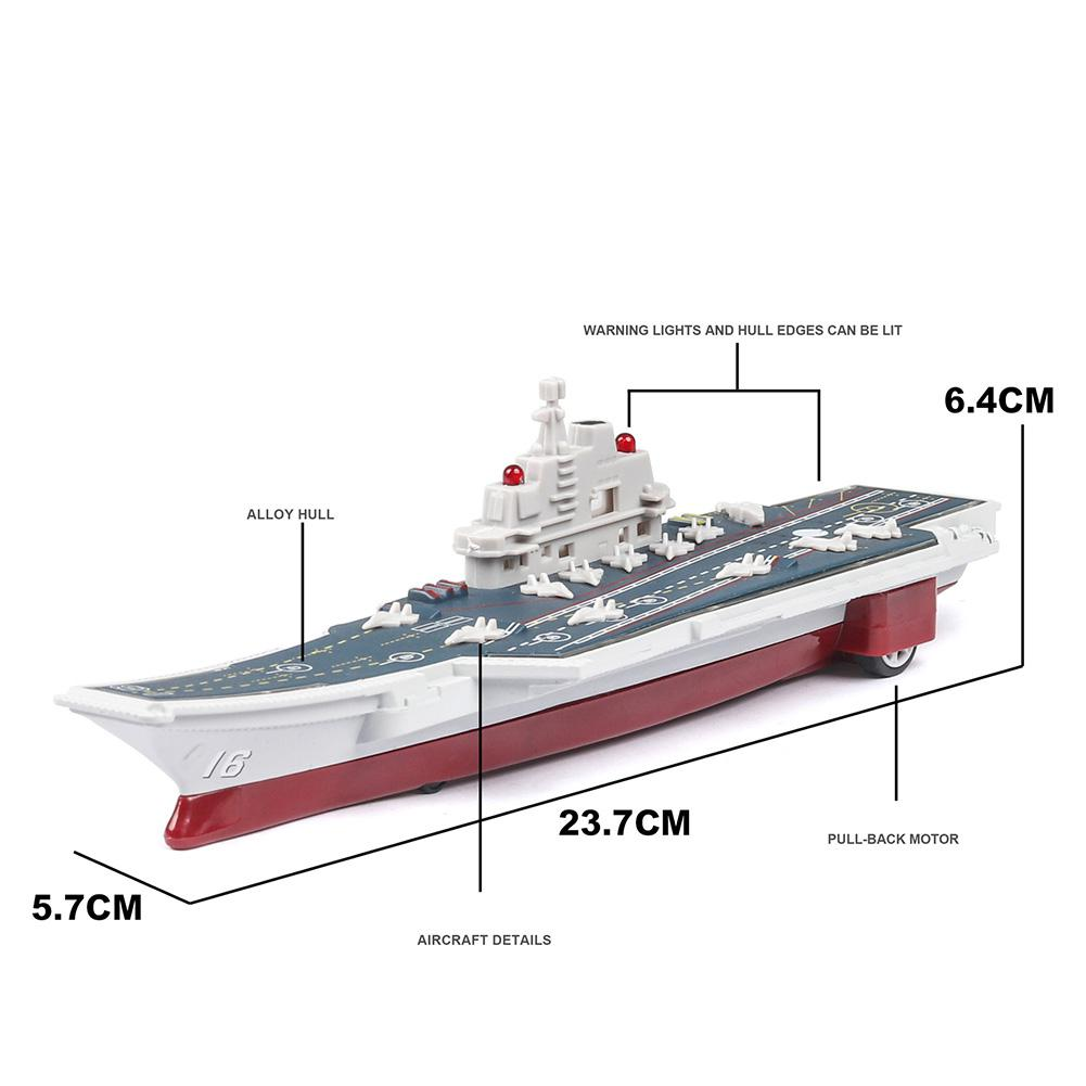 1/2000 Simulation Alloy China L-16 Liaoning Aircraft Carrier With Sound Light Pull Back Model