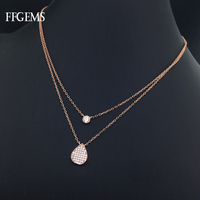 FFGems Real 10K Gold Necklace Pendant Sterling Natural Diamond or Moissanite Elegant Find Jewelry for Women Party Wedding Gifts