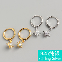 Fashion popular Japanese and Korean version S925 sterling silver spiral eight stars set with white zircon ear clips brincos