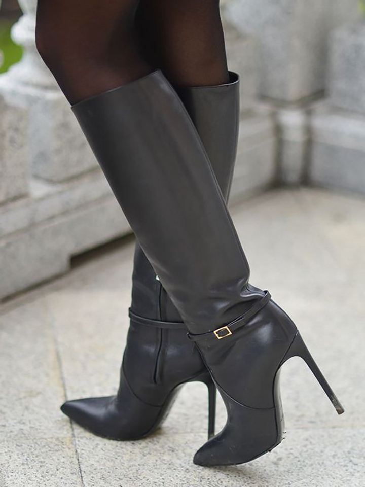 Black Leather Knee High Boots Side