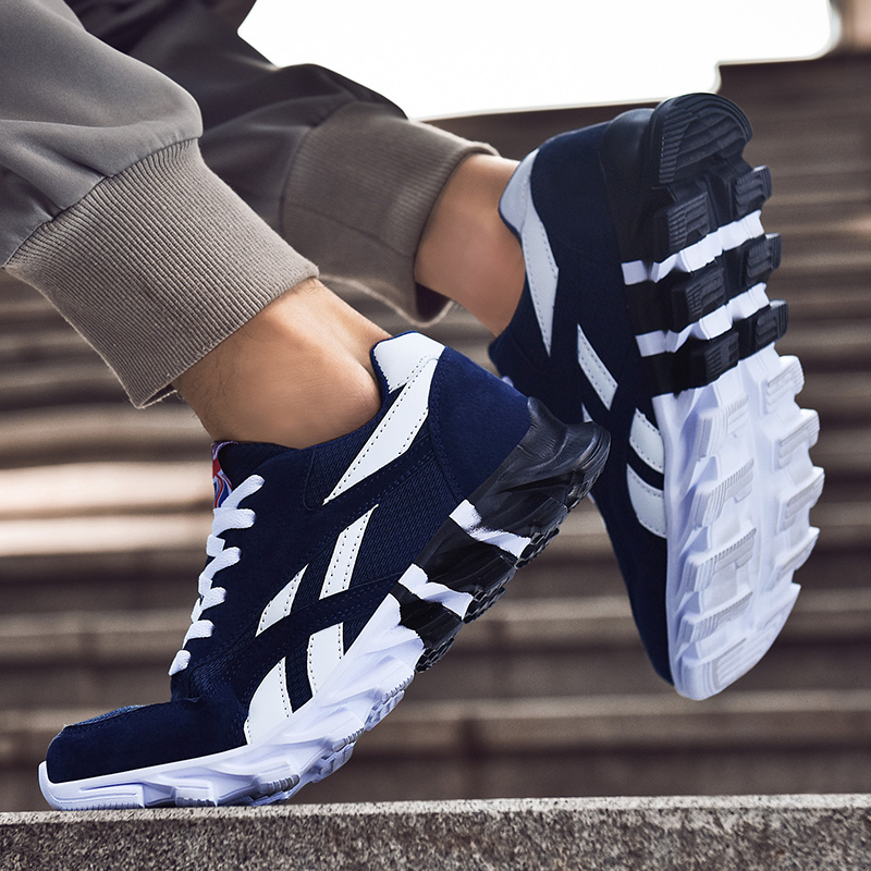 2020 Men Anti Slip Running Shoes Outdoor Comfortable Sport Walking Shoes Lace Up Blue White Light Training Athletic Sneakers