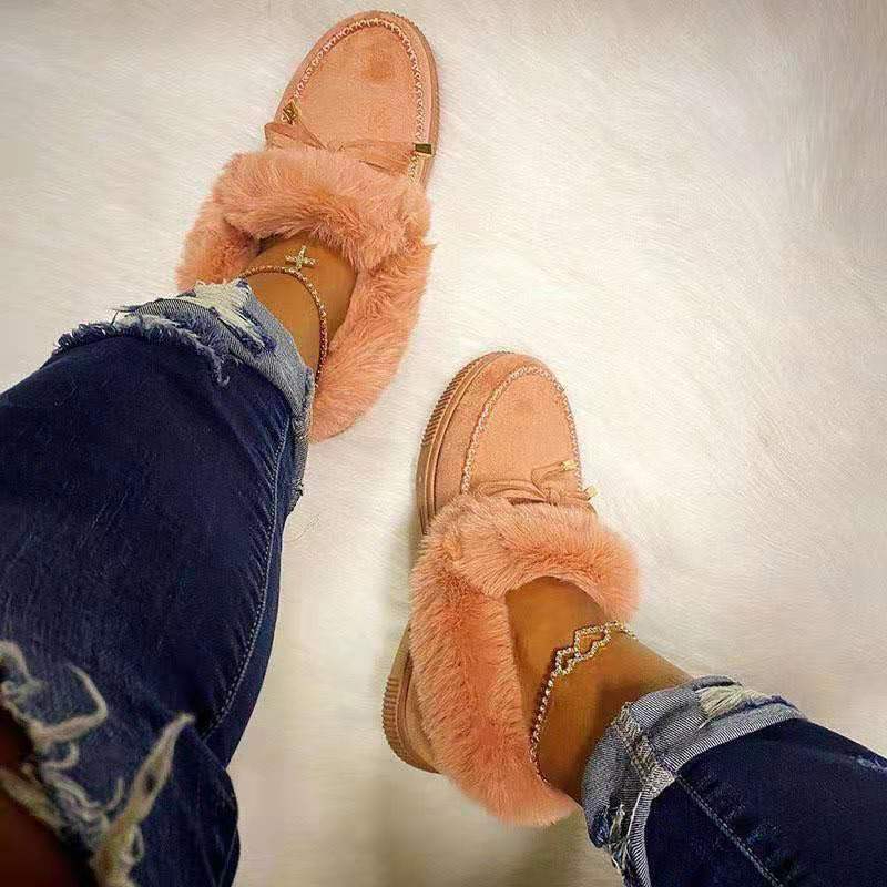 Autumn 2020 Women's Casual Fur Shoes Cute Bowknot Trending Fluffy Furry Slip-on Sneakers Ladies Plush Loafers Flats Platform
