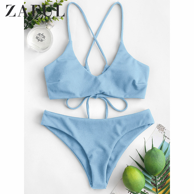 ZAFUL Sexy Cross Back Plaited Cami Bikini Set Women Bandage Swimsuit Bathing Suit Summer Spaghetti Straps Swimwear Biquinis