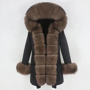 Image 3 - OFTBUY 2020 Fashion Winter Jacket Women Real Fur Coat Natural Real Fox Fur Collar Loose Long Parkas Big Fur Outerwear Detachable
