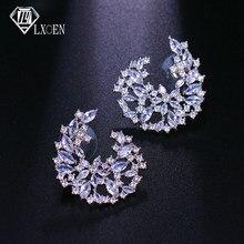 Ünlü tasarım lüks geometri çiçek tam mikro açacağı kübik zirkonya düğün küpe kadınlar için moda takı hediye