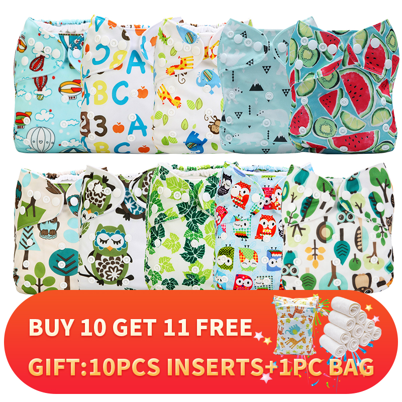 [Mumsbest] 21PCS/Pack Wholesale Price 10 PCS Diaper Cover With 10 PCS Microfiber Inserts And 1PC Big Zipper Bag Neutral Color
