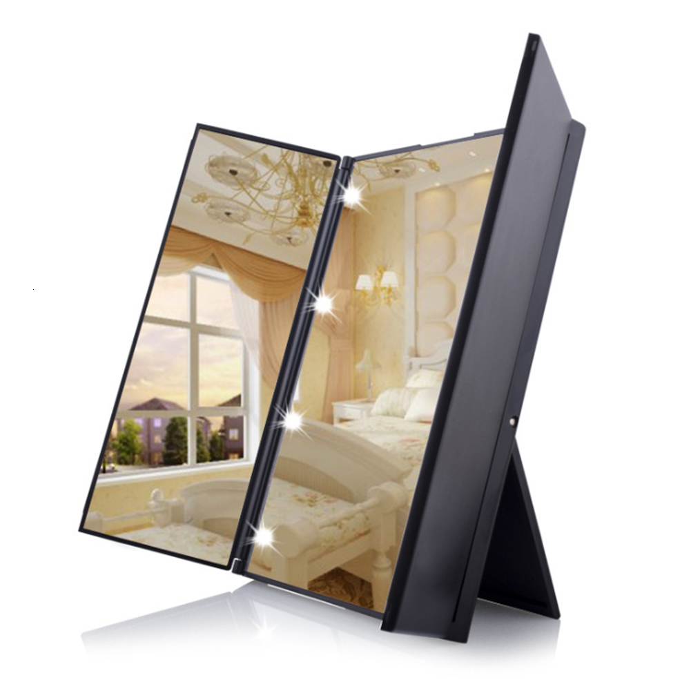 8 Led Vanity Light Tri-fold Makeup Mirror Foldable Cosmetic Mirror S With Led Lighting Portable Travel Pocket Table Desk Decor