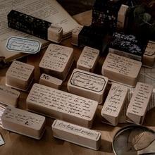 Hongma Tampon Scrapbooking Lettre Transparent Vintage Motif Bois DIY Enfant Cachet Scrapbook Abulm