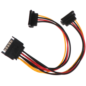 1pc 90 Degree SATA 15-Pin Male To 2 X 15P Female Y Splitter Adapter Sata Power Cable For HDD Hard Drive