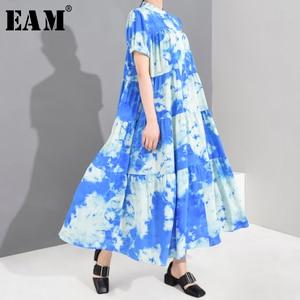 [EAM] Women Blue Printed Cake Big Size Long Shirt Dress New Stand Collar Short Sleeve Loose Fashion Spring Summer 2020 1U91905