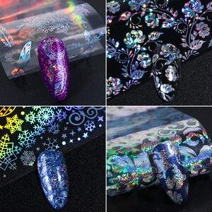 Image 2 - Holográfico unha folha polonês adesivos transferência céu estrelado sliders laser transparente arte do prego decalque manicure projetos JI1040 1