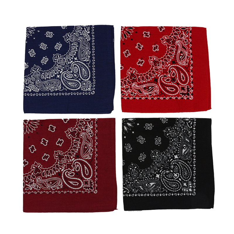 Dark Red Navy Black Paisley Cotton Square Scarf Men Hip-hop Headband Women Hair Band Bandana