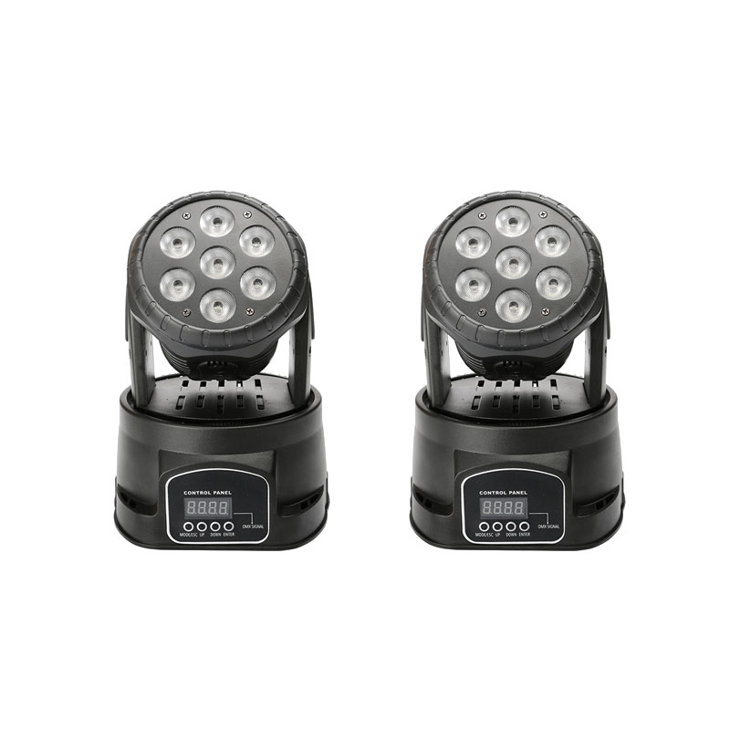 2pcs/lot LED Wash 7x18W RGBWA+UV Moving Head Lighting For Disco KTV Party Fast Shipping Wash Stage Light
