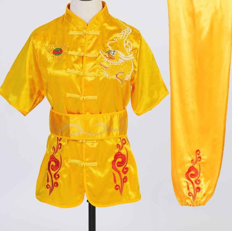 Kung Fu Tai Chi Seni Bela Diri Pakaian Bordir Naga Dewasa & Anak Musim Panas Lengan Pendek Pakaian Kidschangchuan Wu Kostum
