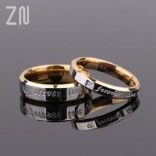 Anel de aço unissex para casal, amor para sempre