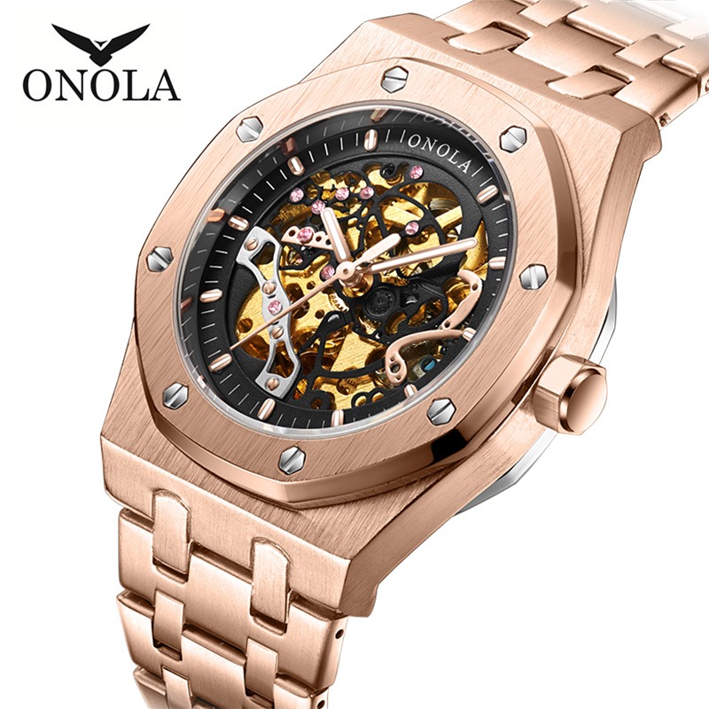 ONOLA Top Brand Luxury Automatic Mechanical Men Watch Fashion Waterproof Wristwatch Casual Male Clock Relojes Para Hombre ON3811