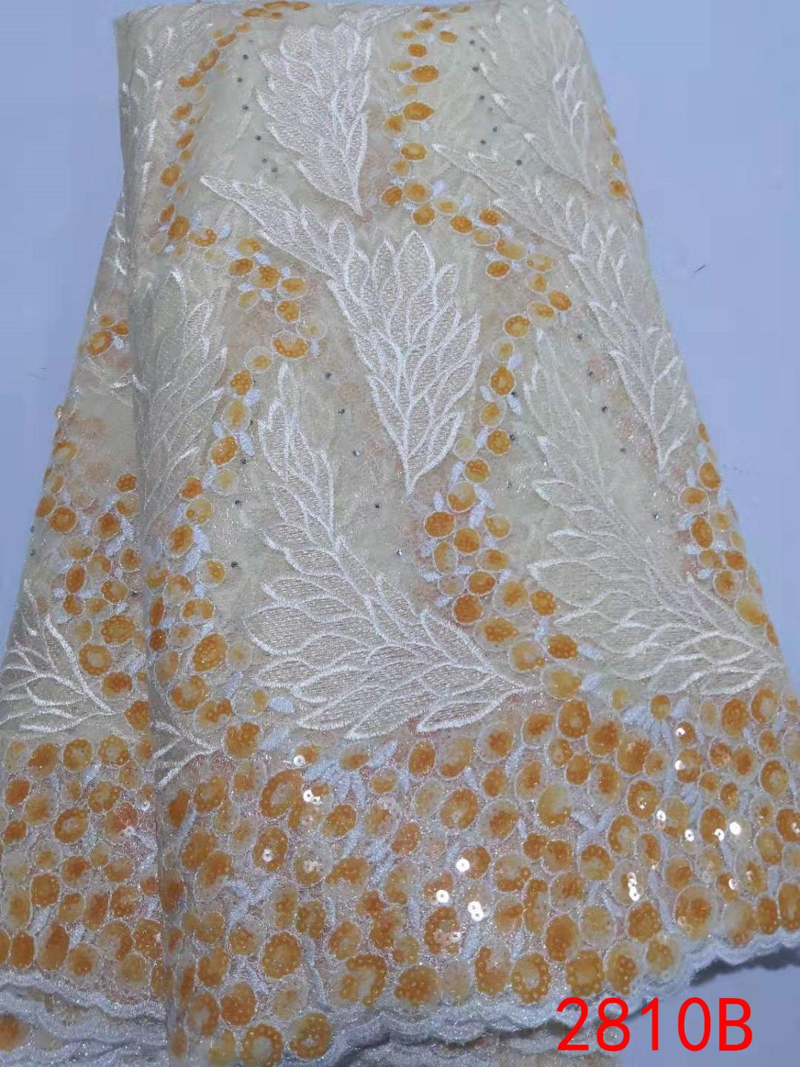 Hot Sale African Lace Fabric French Net Lace High Quaity Sequins Fabric Embroidery Tulle Lace Fabric For Nigerian PartyKS2810B