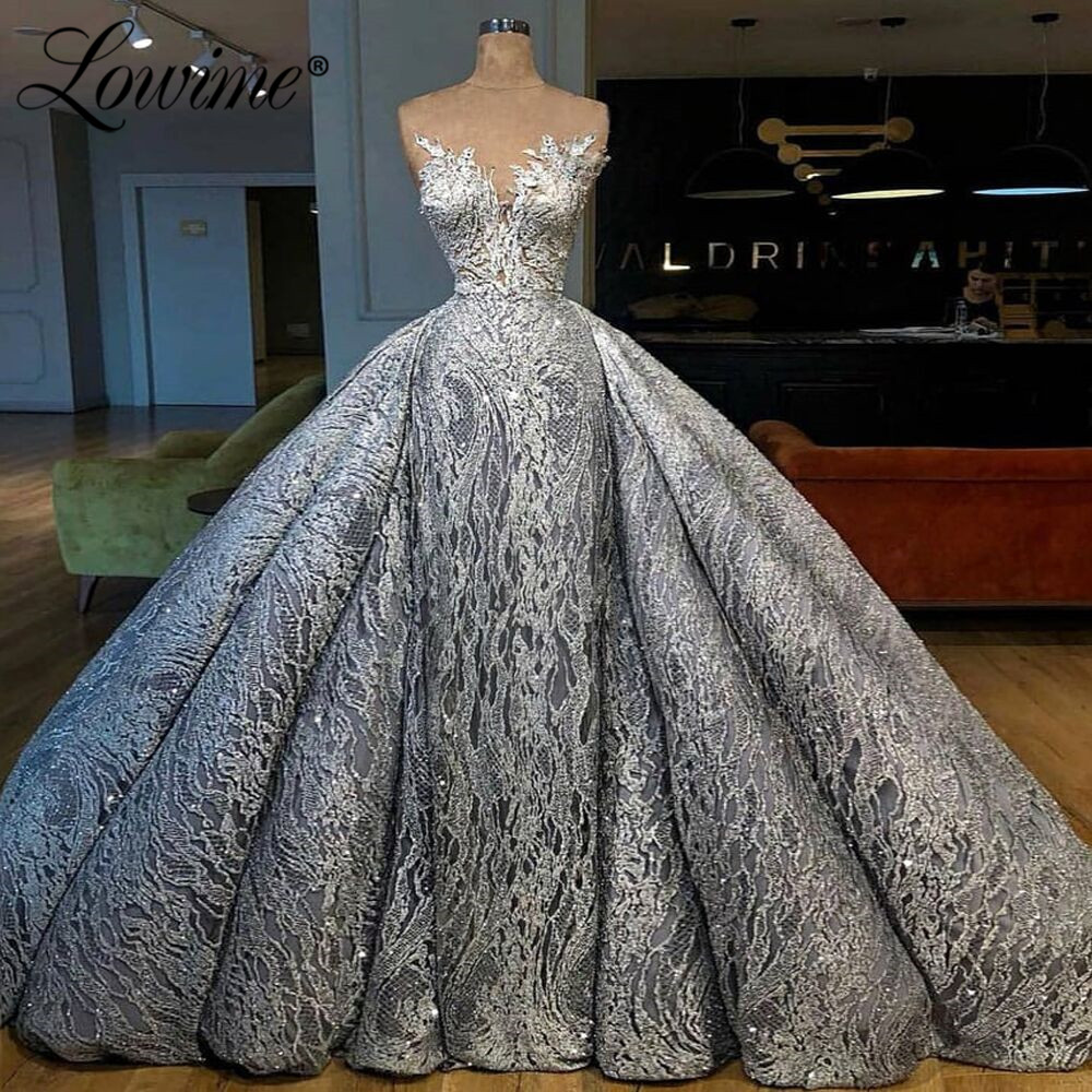 Luxury Arabic Party Dresses With Detachable Train Illusion Sequins Middle East Women Evening Gown Robe De Soiree Long Prom Dress