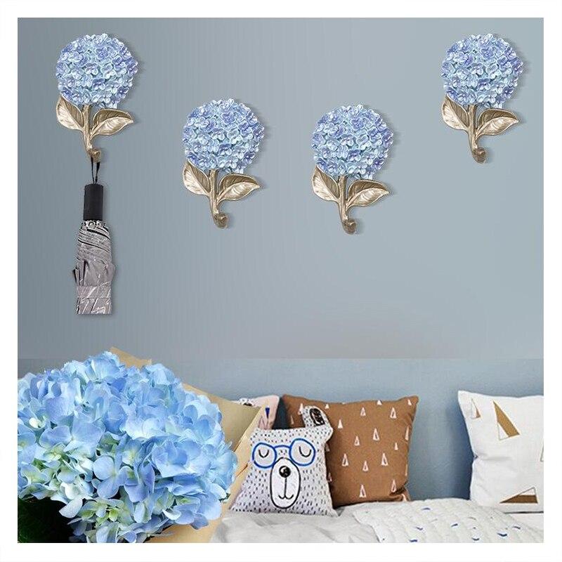 4 pièces créatif mur résine fleur cintre artisanat décoration maison salon porche clé sac manteau crochet mur ornement mur autocollant