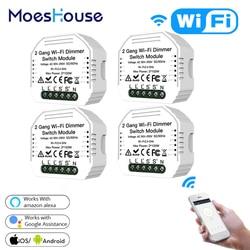 2 Gang DIY WiFi Smart Licht LED Dimmer Modul Schalter Smart Leben/Tuya APP Fernbedienung Arbeit mit Alexa echo Google Hause