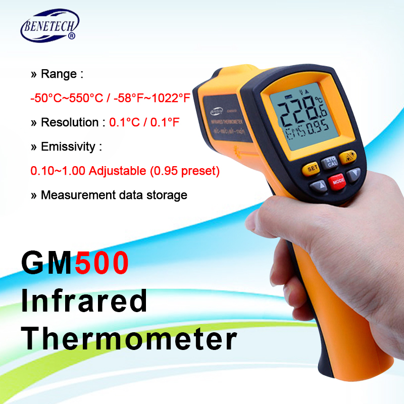 GM500 Digital Laser infrared thermometer -50~500C(-58~1022F) Themperature Pyrometer IR Laser Point Gun EMS 0.1-1.0 image