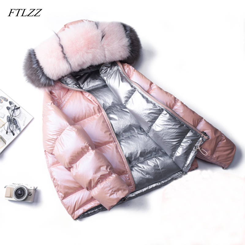 FTLZZ 2019 Winter Jacket Women White Duck   Down   Jacket Big Aritificial Fur Outwear Waterproof Loose   Coat   Thick Warm   Down   Parka