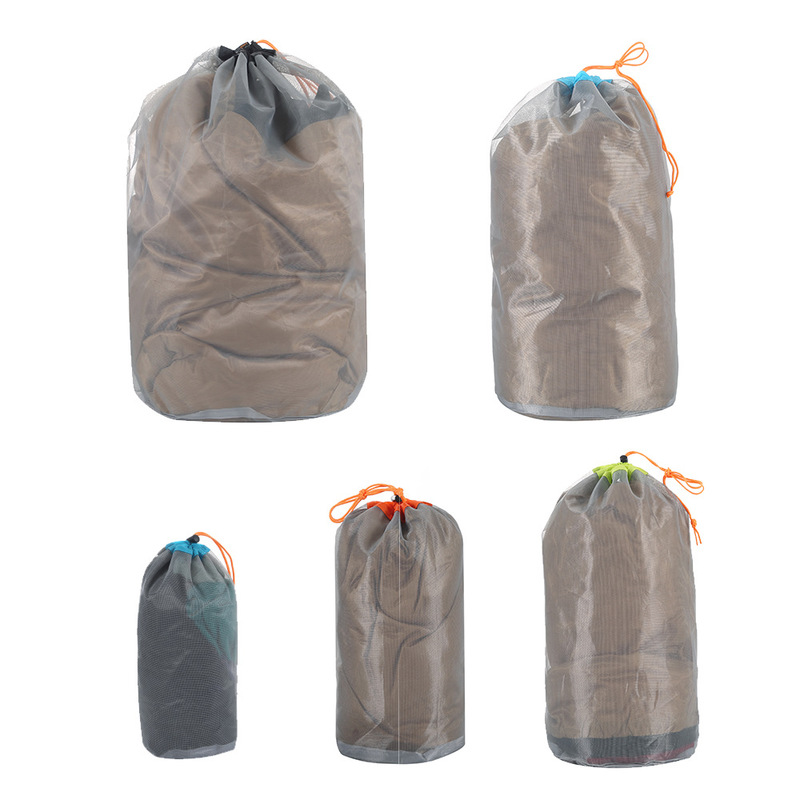 1pc Laundry Outdoor Bag Ultralight Mesh Stuff Sack Camping Sports Drawstring Storage Bag Hiking Tools Climbing Drawstring Bag