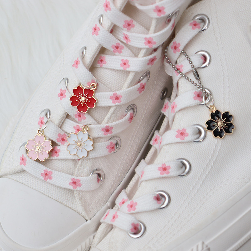 Cute Personality Pattern High-top Canvas Sneaker Pink Cherry Blossoms Shoelaces Fashion Women Men Cowboy Shoelaces Dropship