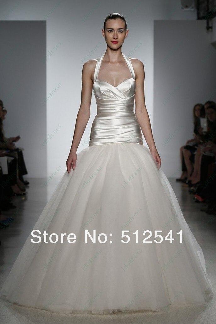 2019 Vestido De Noiva Simple Wedding Dresses Trumpet Mermaid Halter Pleat Floor Length Organza And Elastic Satin Robe De Mariee
