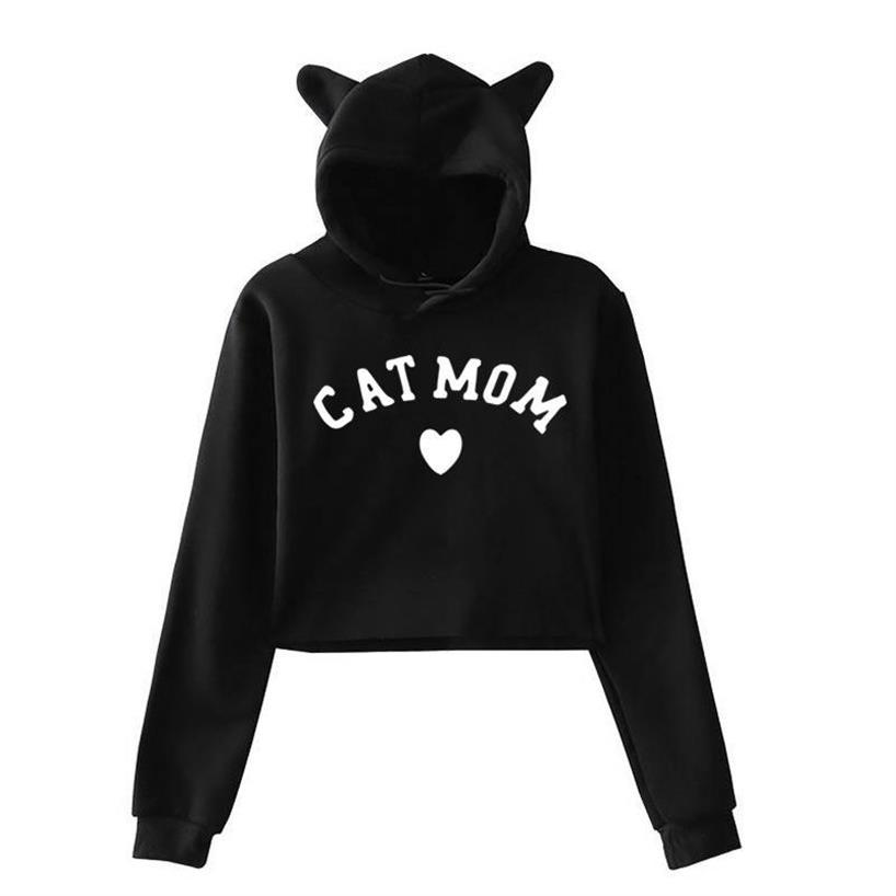 Hoodies For Women Short Cat Ear Paw Letters Print Tops Kawaii Loose Girls Funny Youth And Sweatshirts