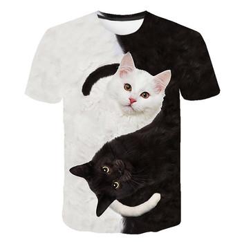 BIAOLUN nowe fajne koszulki mężczyźni kobiety 3d Tshirt drukuj dwa kot z krótkim rękawem lato topy koszulki T koszula mężczyzna S-6XL tanie i dobre opinie Poliester spandex Tees REGULAR Suknem Zwierząt short WOMEN NONE Na co dzień Wieku 16-28 lat O-neck