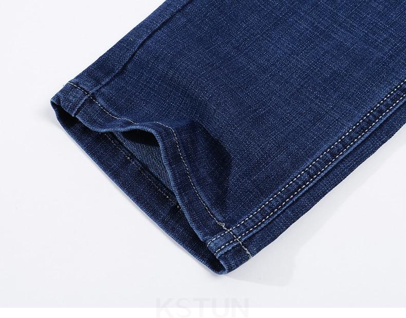 KSTUN Blue Jeans Men 2019 Autumn Straight Elastic Jeans Fashion Business Classic Style Work Trousers Pants Men Cotton Jean Homme 18