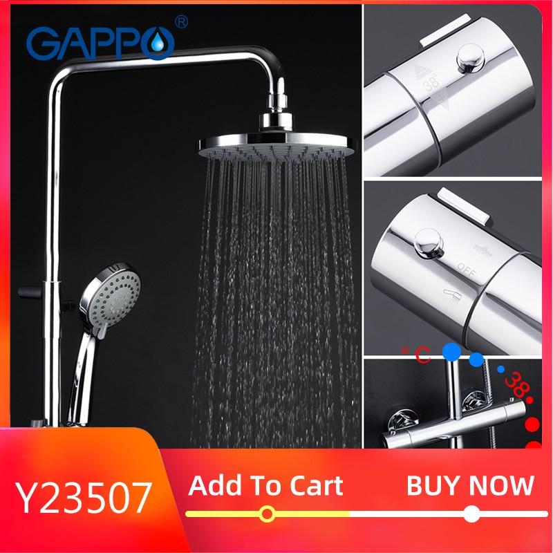 Gappo Bath BRASS Thermostatic Bathtub Shower Wall Mounted   Lift Adjustable Hot Cold Water Big Round Head Shower High Pressure