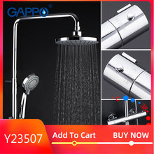 Gappo bath BRASS Thermostatic bathtub shower wall mounted lift adjustable hot cold water big round head shower High pressure(China)