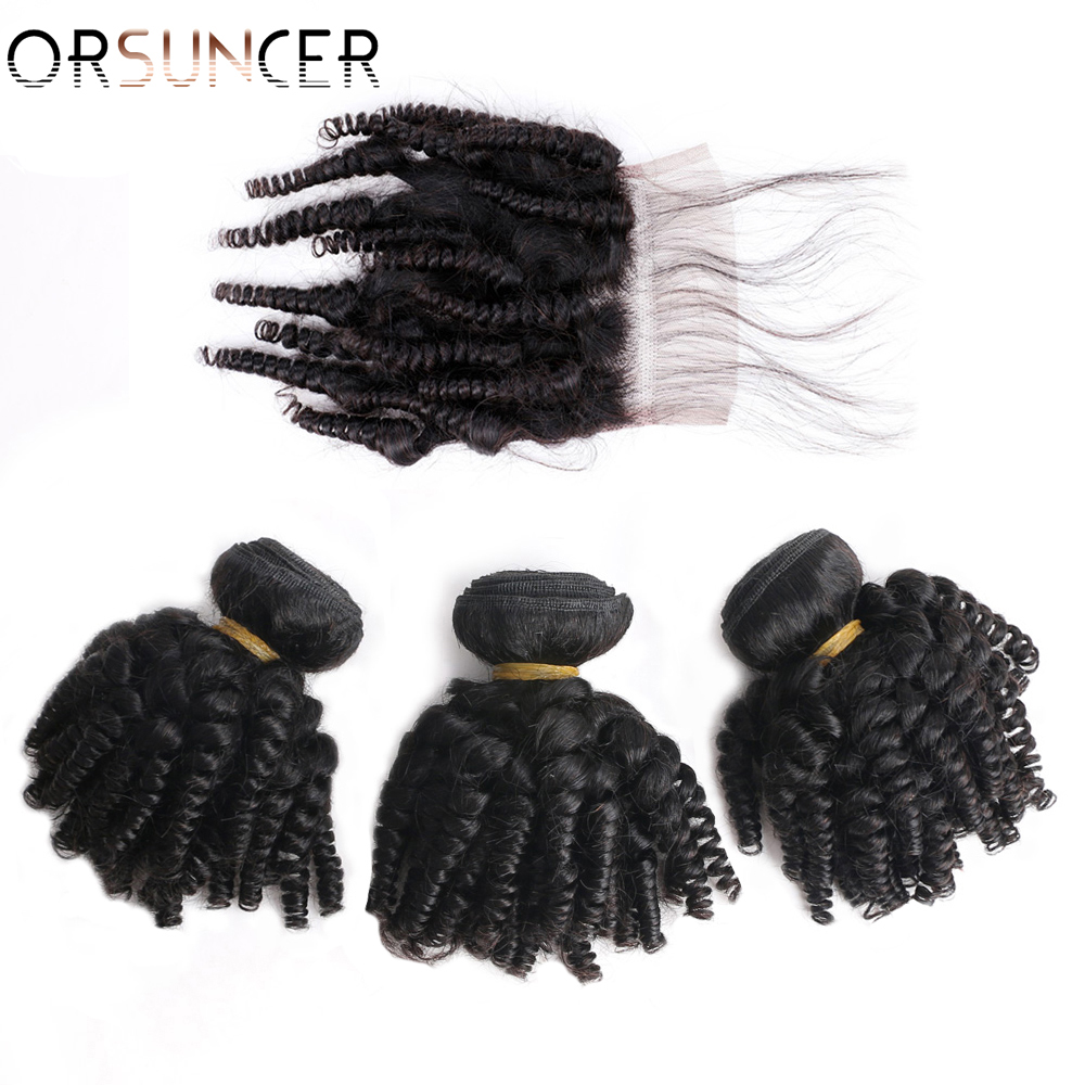 ORSUNCER Bouncy Curly Human Hair Bundles with Closure Peruvian Afro Funmi Human Hair Non-Remy Funmi Hair Extensions Medium Ratio