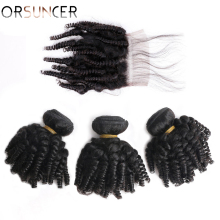 Human-Hair-Bundles Closure Curly Bouncy Peruvian Hair-Extensions ORSUNCER with Afro Funmi