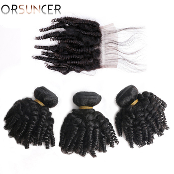 ORSUNCER Bouncy Curly Human Hair Bundles with Closure Peruvian Afro Funmi Human Hair Non-Remy Funmi Hair Extensions Medium Ratio top quality funmi hair for uk nigeria bouncy aunty romance curl human weaves 3bundles lot free shipping by dhl