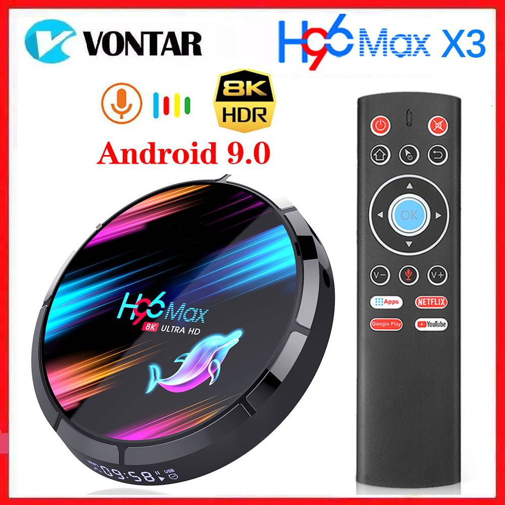 Vontar Smart TV Box Android 9.0 Amlogic S905X3 8K Media Player Max 4GB RAM 128GB ROM Dual Wifi 1G/8G Set Top Box YouTube Netflix