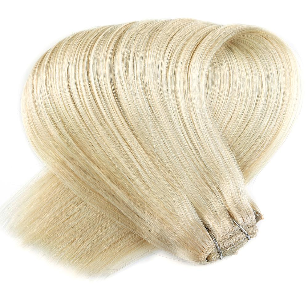 """Neitsi Double Drawn Remy Clip In On Human Hair Extensions 20"""" 24"""" 7pcs 16 Clips Natural Straight Clip Ins + 30pcs Strong Clips"""