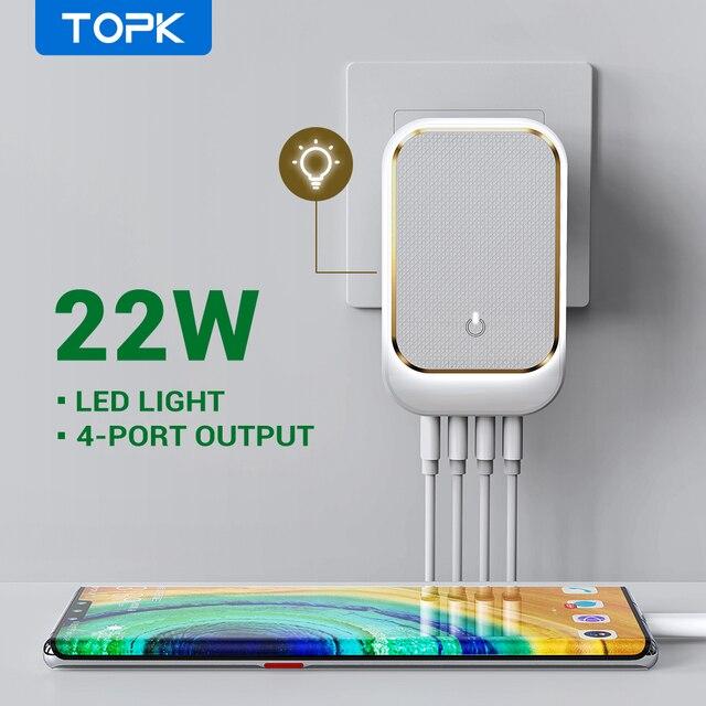TOPK LED USB Ladegerät 22W 4 Port Telefon Ladegerät EU US UK AU Stecker Adapter Tragbare Reise Wand ladegerät für iPhone Xiaomi mi 10 pro