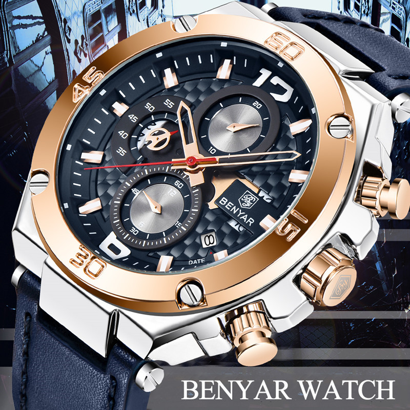 Watch Men BENYAR Fashion Sport Quartz Clock Mens Watches Top Brand Luxury Business Waterproof Leather Watches Relogio Masculino