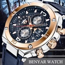 Watch Men BENYAR Fashion Sport Quartz Clock Mens Watches Top Brand Luxury Business Waterproof Leather Relogio Masculino