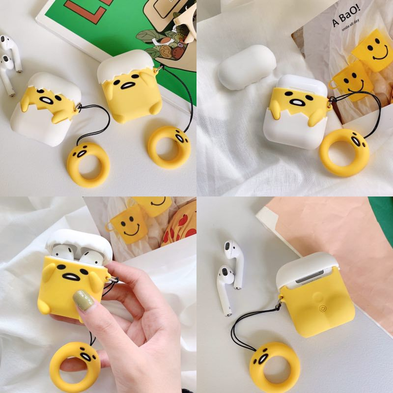 Soft Silicone Cute Cartoon Stereo Lazy Gudetama Underdone/Well Done Airpods Protective Case Buy One Get Corresponding Ring Free