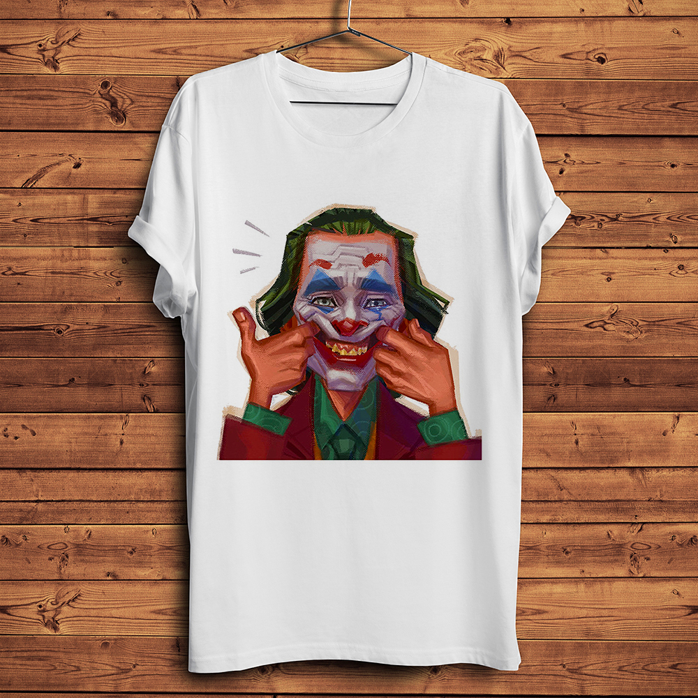 Joker Joaquin Phoenix  Funny T Shirt Men 2019 Summer New White Casual Homme Cool Oil Painting Style Printing Tshirt Streetwear