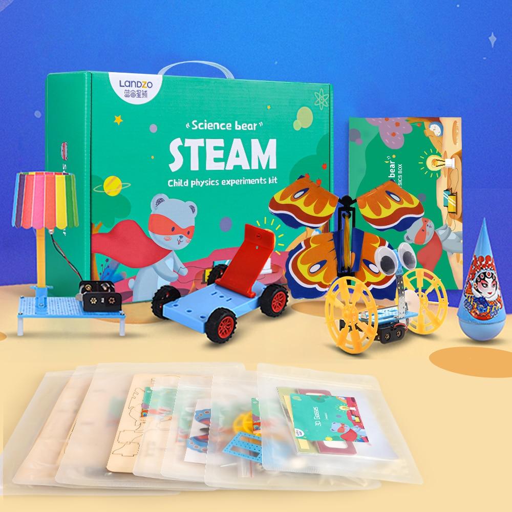Landzo crianças brinquedos de vapor ciência urso crianças física experimento kit aprendizagem inovador diy criativo brinquedos educativos jogo presente