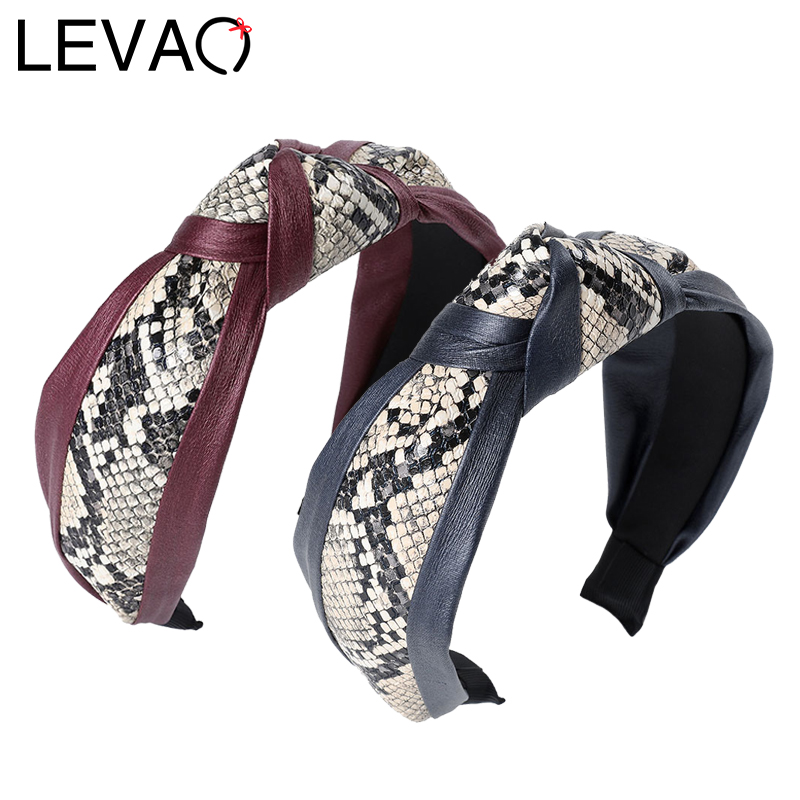 LEVAO Leopard Snake Print Headband Women Girls Turban Knotted Hairbands Elegant Head Hoop Bezel Hair Accessories Headwear Ladies