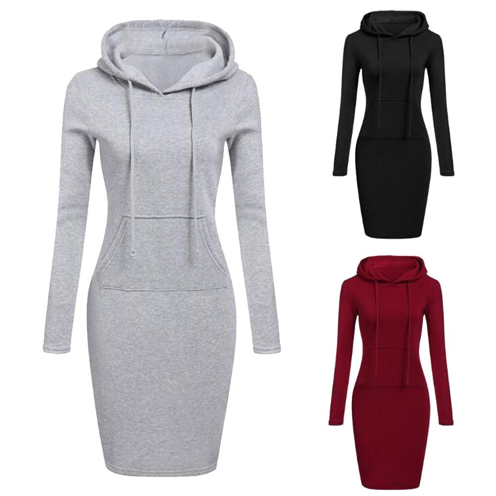 Autumn Winter Women Solid Color Sport Hoodie Long Sleeve Pocket Slim