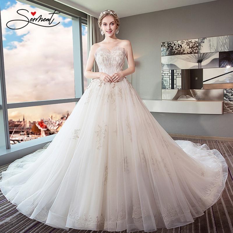SERMENT Wedding Dress Bride Trailing Princess Dream European And American Court Was Thin And Light Free Custom Made Plus Size