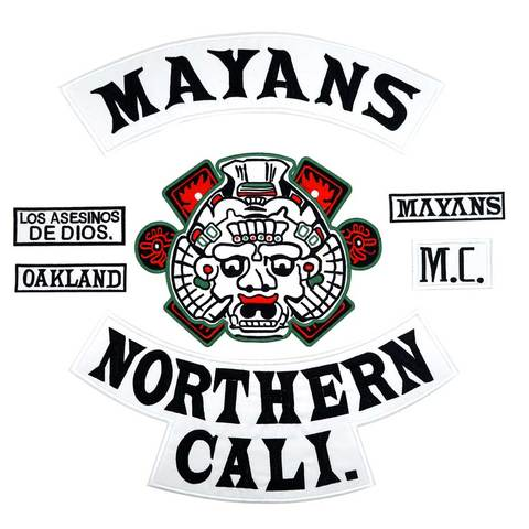 Etiqueta de Costura Mayans Northern Cali Backing Bordado Punk Motociclista Remendos Roupas Adesivos Vestuário Acessórios Crachá